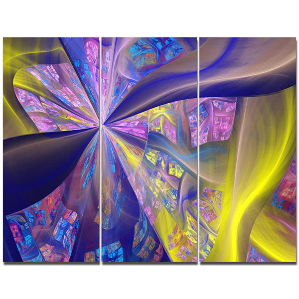 Designart Purple Yellow Fractal Curves Abstract Canvas Art Print - 3 Panels