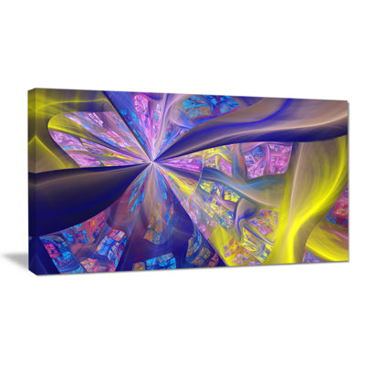 Designart Purple Yellow Fractal Curves Abstract Wall Art