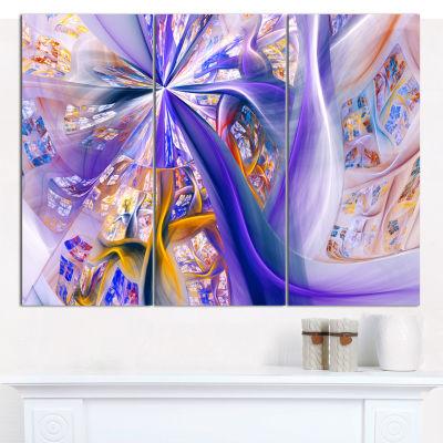 Designart Purple Yellow Fractal Curves Abstract Wall Art - 3 Panels
