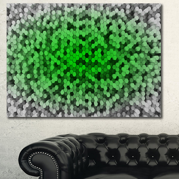 Designart Random Elevated Green Hexagons AbstractWall Art Canvas