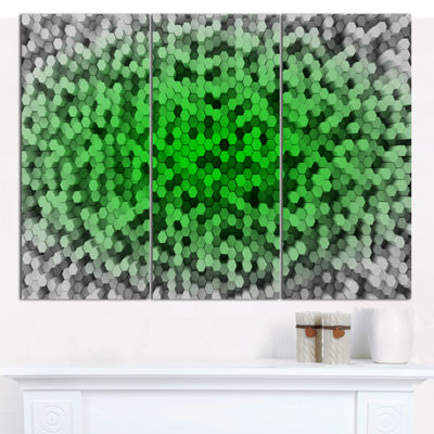 Designart Random Elevated Green Hexagons AbstractWall Art Canvas - 3 Panels