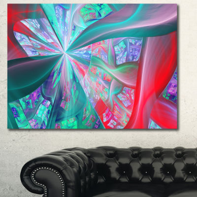 Designart Red Blue Fractal Exotic Plant Stems Abstract Canvas Art Print