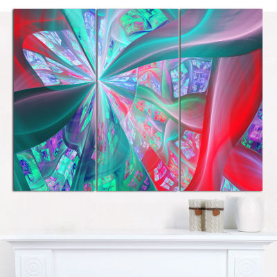 Designart Red Blue Fractal Exotic Plant Stems Abstract Canvas Art Print - 3 Panels