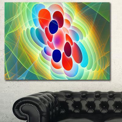Designart Red Blue Fractal Virus Design Abstract Art On Canvas
