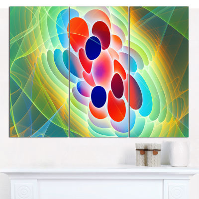 Designart Red Blue Fractal Virus Design Abstract Art On Canvas - 3 Panels