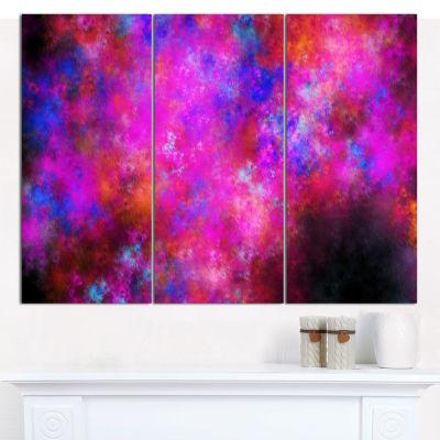Designart Red Blue Starry Fractal Sky Abstract ArtOn Canvas - 3 Panels