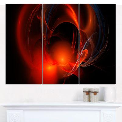 Designart Red Galactic Nebula On Black Abstract Wall Art Canvas - 3 Panels