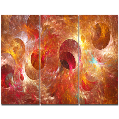 Designart Red Yellow Circles Texture Abstract Canvas Art Print - 3 Panels