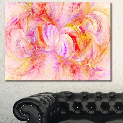 Designart Red Yellow Fractal Glass Texture Abstract Canvas Art Print