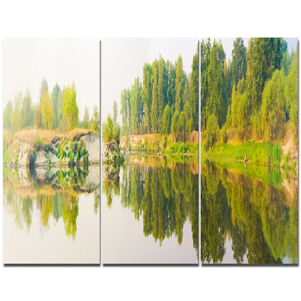 Designart River And Forest Panorama Landscape Canvas Art Print - 3 Panels
