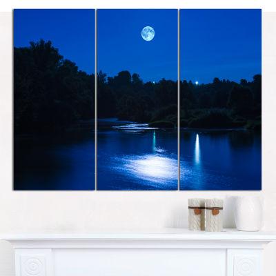 Designart River At Night With Fog Landscape CanvasArt Print - 3 Panels