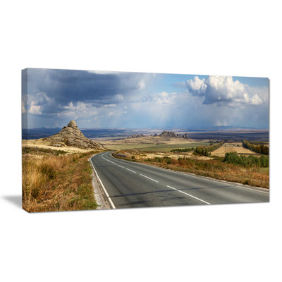 Designart Road In East Kazakhstan Panorama Landscape Canvas Art Print