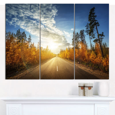 Designart Road In Fall Forest Panorama Landscape Canvas Art Print - 3 Panels