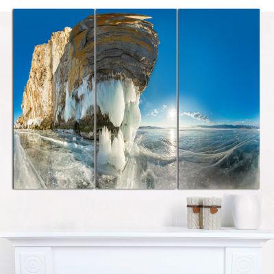 Designart Rock On Olkhon Island In Baikal Lake Landscape Canvas Art Print - 3 Panels
