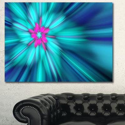 Designart Rotating Blue Fireworks Floral Canvas Art Print