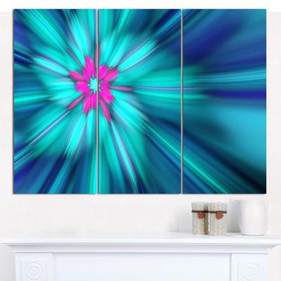 Designart Rotating Blue Fireworks Floral Canvas Art Print - 3 Panels
