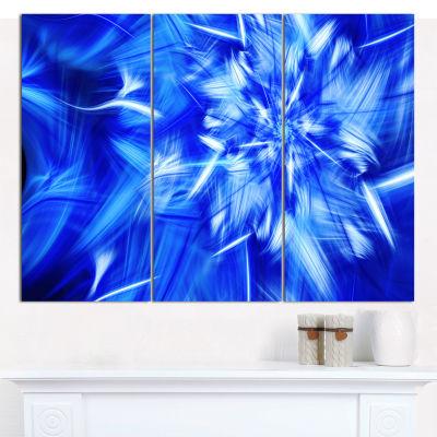 Designart Rotating Bright Blue Fireworks Floral Canvas Art Print - 3 Panels