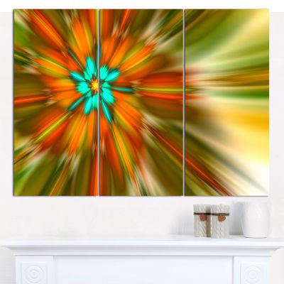 Designart Rotating Bright Fractal Flower AbstractCanvas Art Print - 3 Panels
