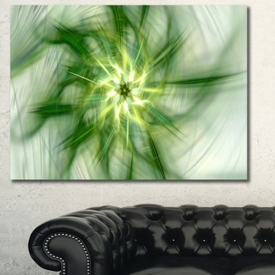 Designart Rotating Bright Green Flower Abstract Canvas Art Print