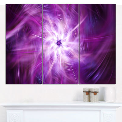 Designart Rotating Bright Purple Fireworks FloralCanvas Art Print - 3 Panels