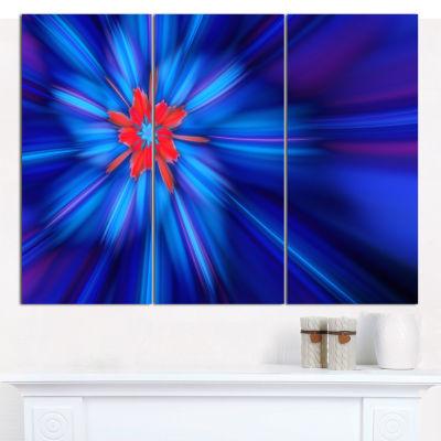 Designart Rotating Fractal Blue Fireworks Floral Canvas Art Print - 3 Panels