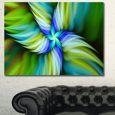 Designart Rotating Fractal Green Star Floral Canvas Art Print