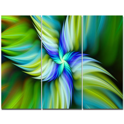 Designart Rotating Fractal Green Star Floral Canvas Art Print - 3 Panels