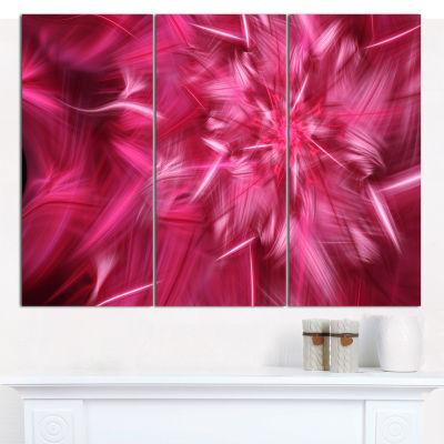 Designart Rotating Fractal Pink Fireworks Floral Canvas Art Print - 3 Panels