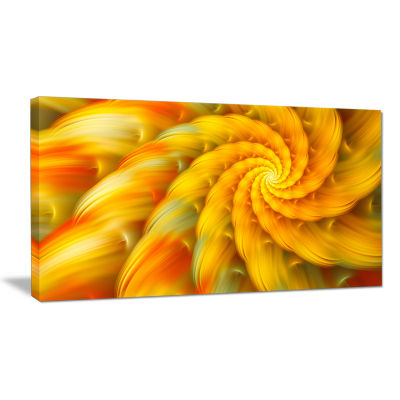 Designart Rotating Yellow Fractal Flower Floral Canvas Art Print