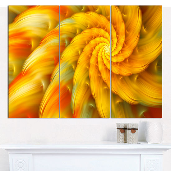 Designart Rotating Yellow Fractal Flower Floral Canvas Art Print 3 Panels