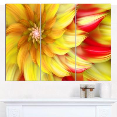 Designart Rotating Yellow Red Fractal Flower Floral Canvas Art Print - 3 Panels