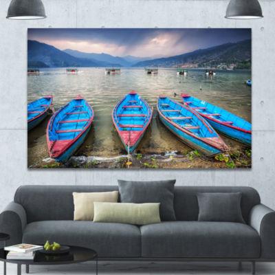 Designart Row Of Blue Boats In Pokhara Lake Boat Canvas Art Print