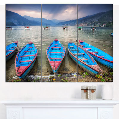 Designart Row Of Blue Boats In Pokhara Lake Boat Canvas Art Print - 3 Panels
