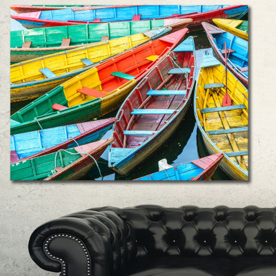 Designart Rowing Boats On The Lake In Pokhara BoatCanvas Art Print