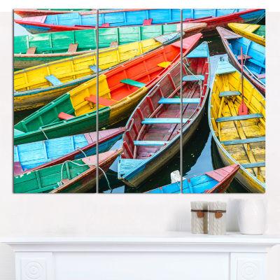 Designart Rowing Boats On The Lake In Pokhara BoatCanvas Art Print - 3 Panels