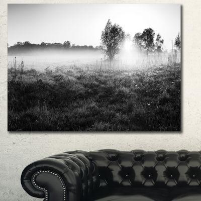 Designart Rural Meadow In Mist Landscape Canvas Art Print
