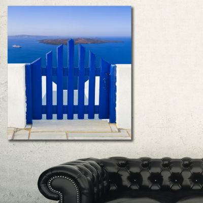 Designart Santorini View To Volcano Abstract WallArt Canvas