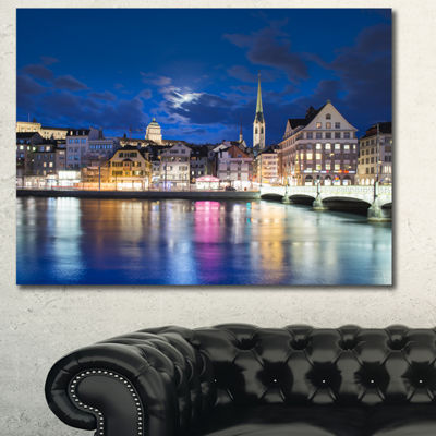 Designart Scenic Panorama Of Old Town Landscape Canvas Art Print