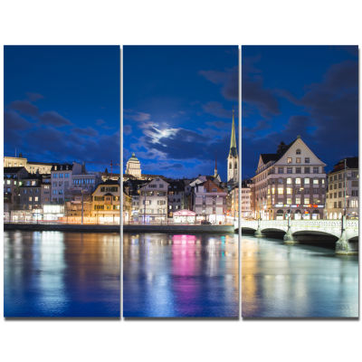 Designart Scenic Panorama Of Old Town Landscape Canvas Art Print - 3 Panels