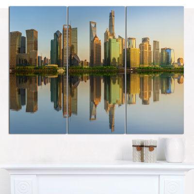 Designart Shanghai Huangpu River At Sunset Cityscape Canvas Art Print - 3 Panels