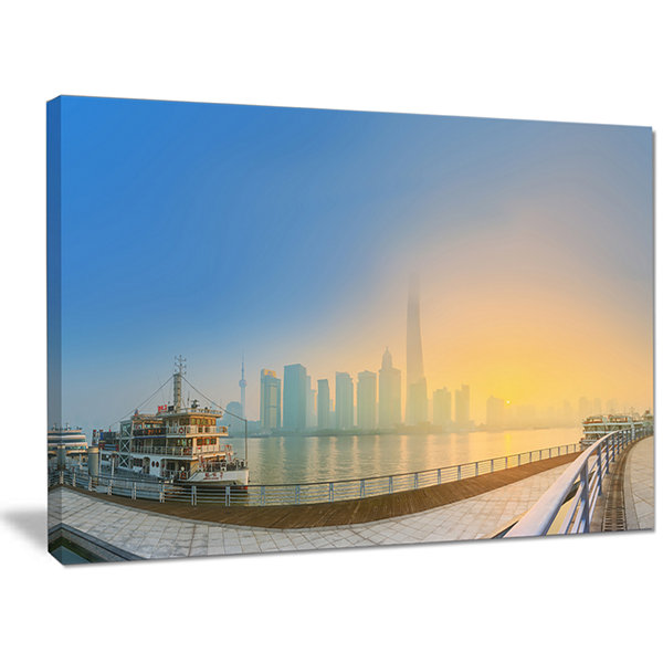 Designart Shanghais Night With Lights Cityscape Canvas Art Print