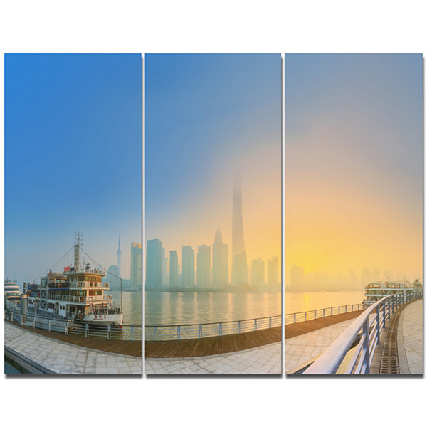 Designart Shanghais Night With Lights Cityscape Canvas Art Print - 3 Panels