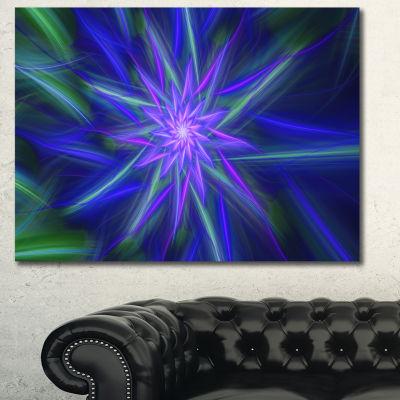 Designart Shining Blue Exotic Fractal Flower Floral Canvas Art Print