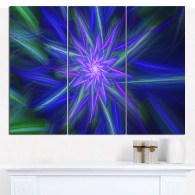 Designart Shining Blue Exotic Fractal Flower Floral Canvas Art Print - 3 Panels