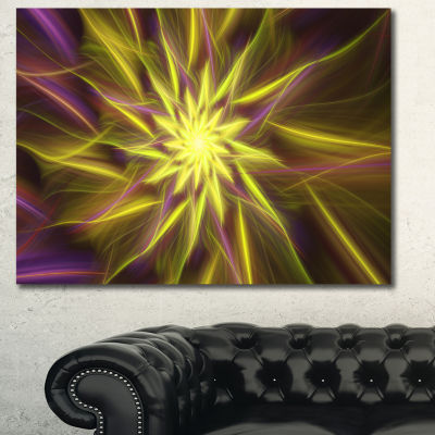 Designart Shining Golden Exotic Fractal Flower Floral Canvas Art Print