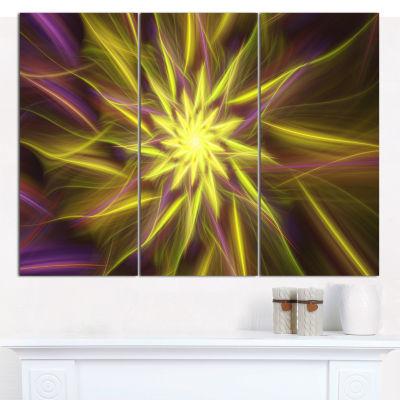 Designart Shining Golden Exotic Fractal Flower Floral Canvas Art Print - 3 Panels