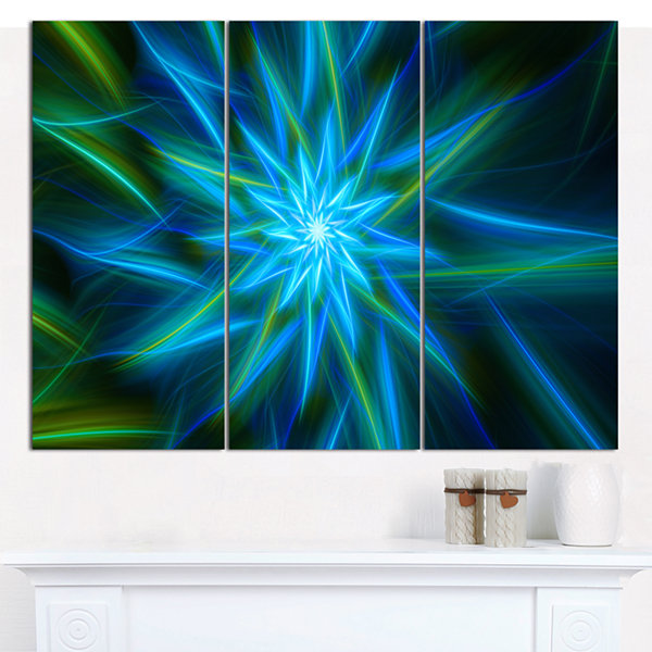 Designart Shining Turquoise Exotic Flower Floral Canvas Art Print - 3 Panels