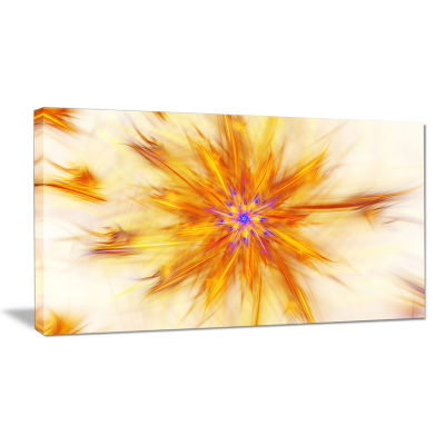 Designart Shining Yellow Exotic Fractal Flower Floral Canvas Art Print