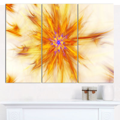 Designart Shining Yellow Exotic Fractal Flower Floral Canvas Art Print - 3 Panels