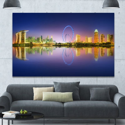 Designart Singapore Skyline And Blue Sky CityscapeCanvas Art Print